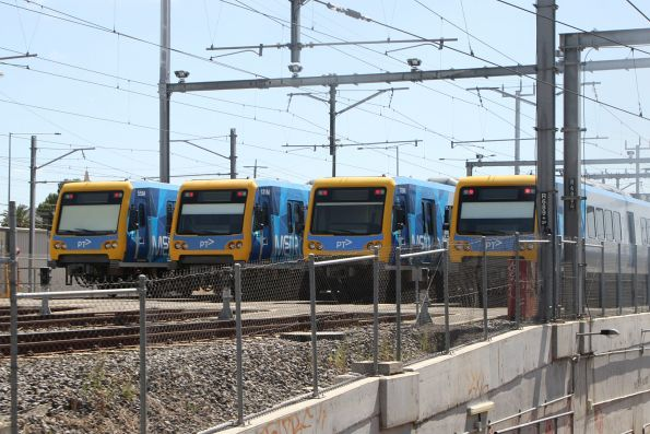 X'Trapolis trains 55M, 131M, 78M and an unknown classmate stabled at Epping Workshops