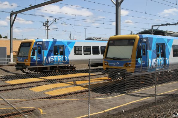 X'Trapolis trains 216M and 178M stabled at Epping Workshops