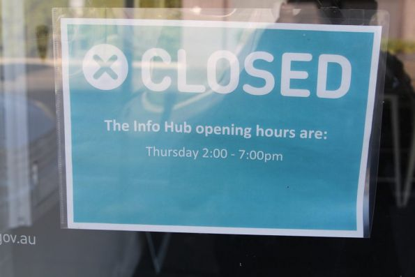 'Essendon Info Hub' - only open one day a week for 5 hours