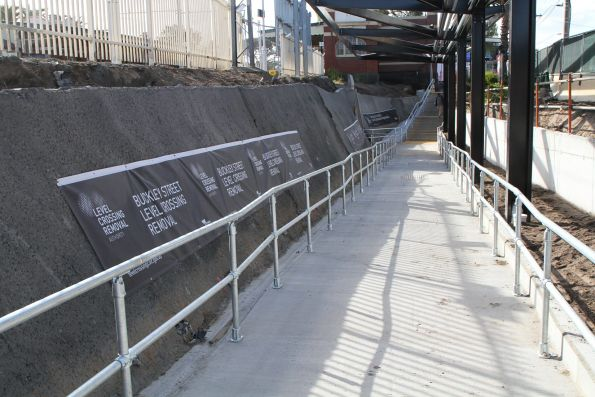 DDA compliant ramp at the eastern end of the pedestrian subway at Essendon station