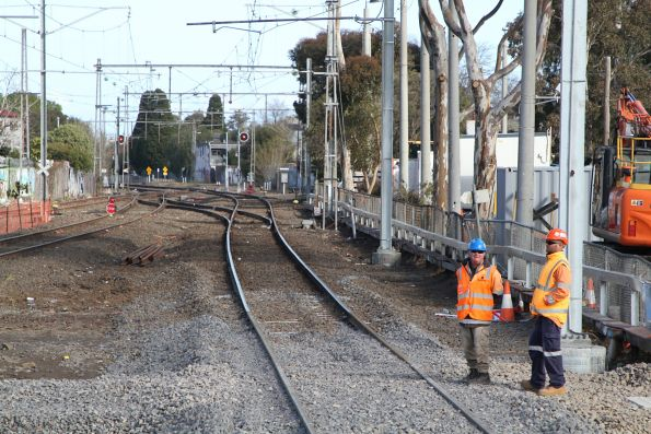 STOP boards at the up end of Essendon station