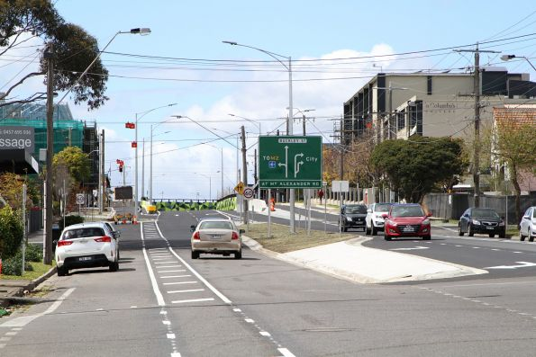 Eastbound on Buckley Street approaching the brand new road underpass