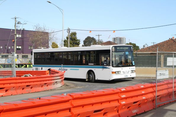 Nuline Charter bus #79 1116AO on a Craigieburn line rail replacement service at Essendon station