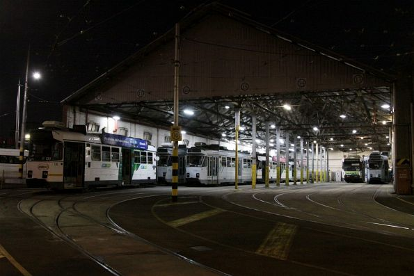 Lineup of Z3 classes in roads 13-18 at Essendon Depot