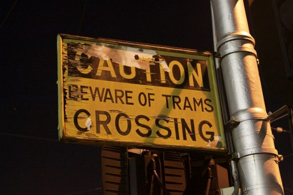 'Caution: Beware of trams crossing' sign at Essendon Depot