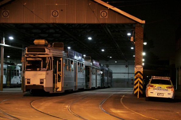 Z3.205 leads a row of stabled classmates at Essendon Depot
