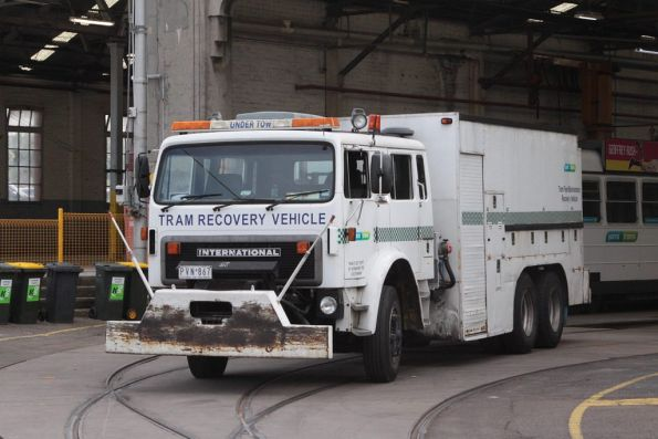 Tram recovery vehicle R10 at Essendon Depot, having assisted in the recovery of a failed Z3.150