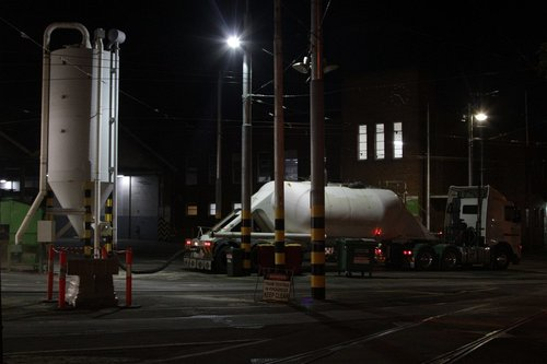 Semi trailer refilling the sand tower at Essendon Depot