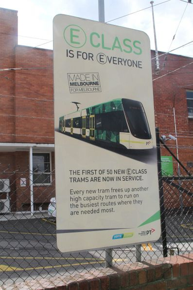 Faded 'E class is for everyone' sign outside Essendon Depot