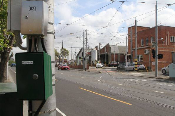 Tram driver intercom outside the south entry to Essendon Depot