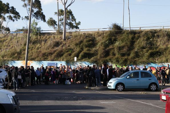 V/Line passengers waiting for a non-existent replacement bus service