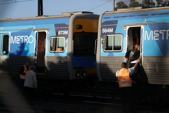 Evacuating passengers from the rear half of the train via the intermediate cab doors