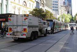 Recovery truck R10 follows the trams back to Southbank Depot