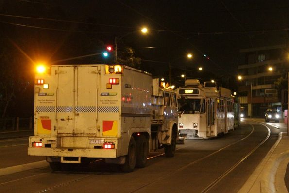 Recovery truck R10 follows the tram transfer down the road
