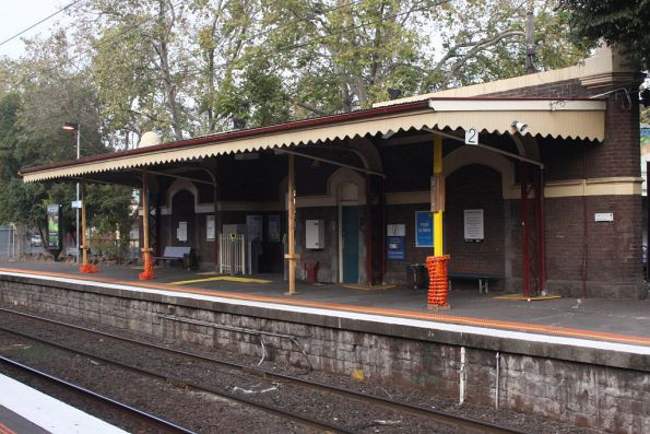 'Temporary' timber supports on the down platform verandah at Kensington - it has been like this for months now...