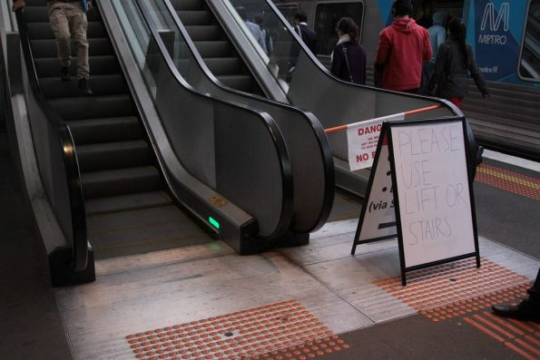 A few days on, the escalator at North Melbourne station platform 1 still broken