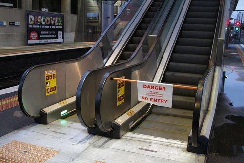 Broken down escalator at North Melbourne platform 2 and 3