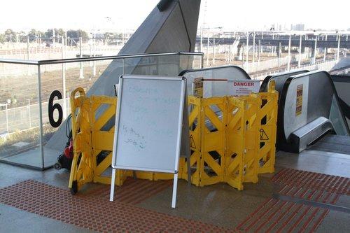Broken escalator leading to North Melbourne platform 6
