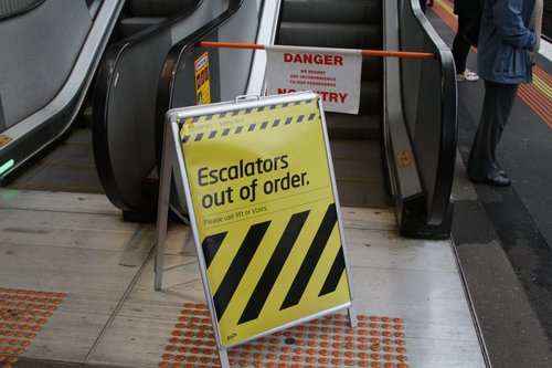 Escalator at North Melbourne station platform 1 is dead yet again