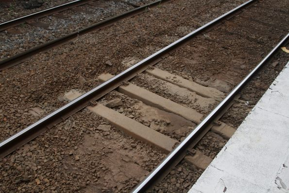 More mud holes in the tracks at Hawksburn station