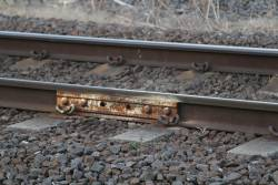 Temporary fishplate in the Frankston line tracks at McKinnon
