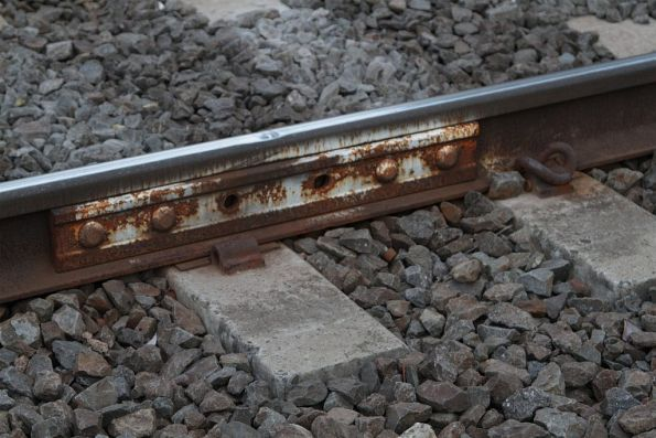 Temporary fishplate in the Frankston line tracks at Bentleigh