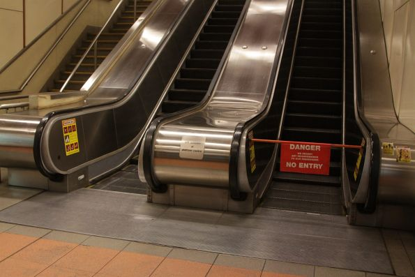 Defective escalator at Flagstaff station