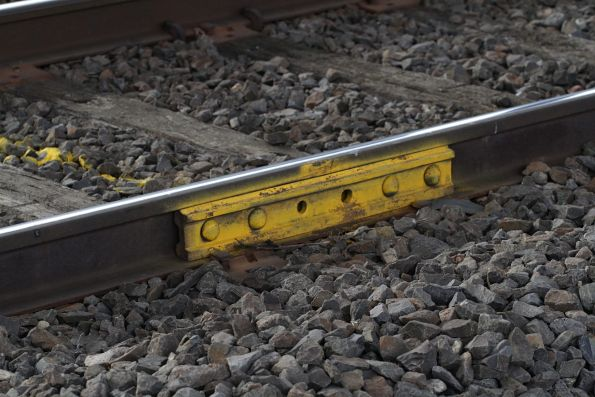 Temporary fishplate affixed to the rails on the Upfield line