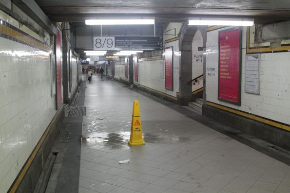 Water leaking into the Centre Subway at Flinders Street Station