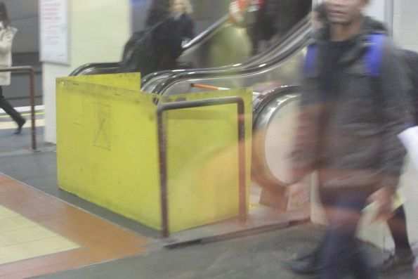 Failed escalator under repair at Box Hill station