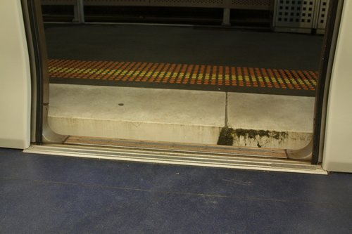 Step UP out of an X'Trapolis train at Mitcham platform 2