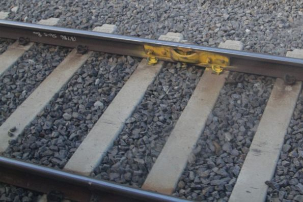 Temporary fishplate on the suburban tracks at Sunshine
