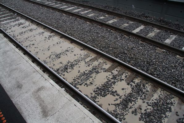 Mud hole in the up suburban line at Sunshine station
