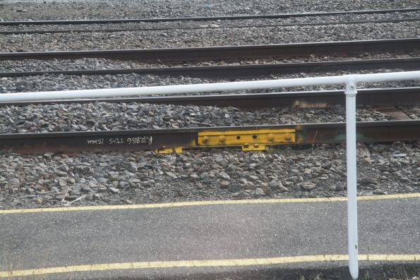 Temporary fishplate in the tracks near Southern Cross Station