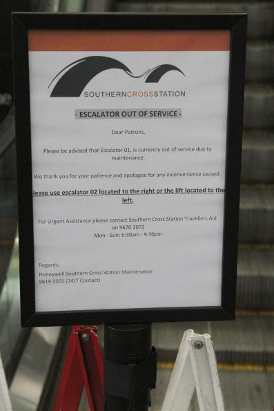 Escalator out of service on the main Spencer Street concourse