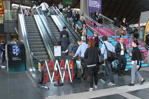 Escalator still out of service on the main Spencer Street concourse