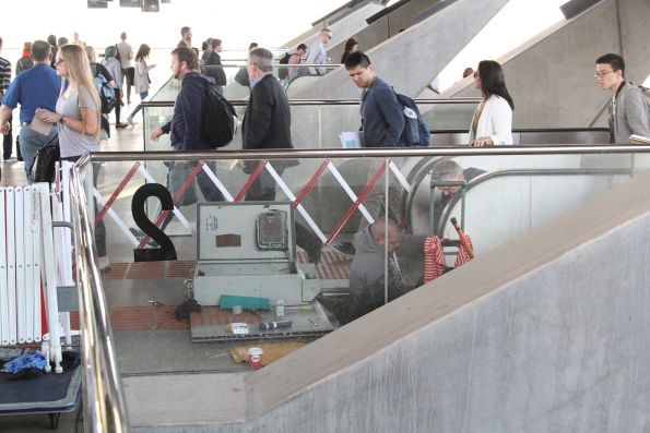 Repairing a failed escalator at North Melbourne platform 2 and 3