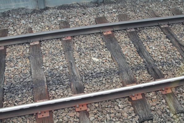 Rotting timber sleepers at Westall station