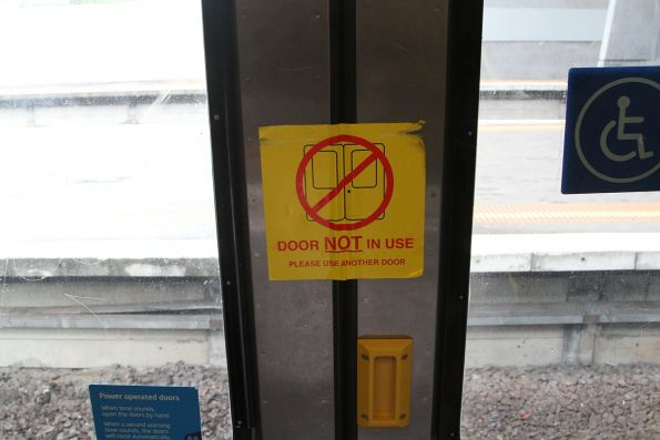 'Door not in use' sticker onboard a Comeng train