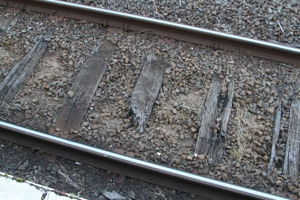 Rotten sleepers in the platform road at Thornbury