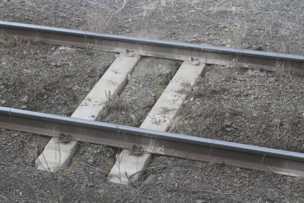 Mud holes in the tracks leading to Southern Cross Station platform 8