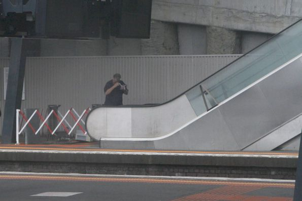 Repairing an escalator at North Melbourne station platform 1
