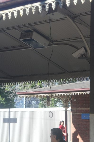 Loose cable dangling from the veranda at North Melbourne station
