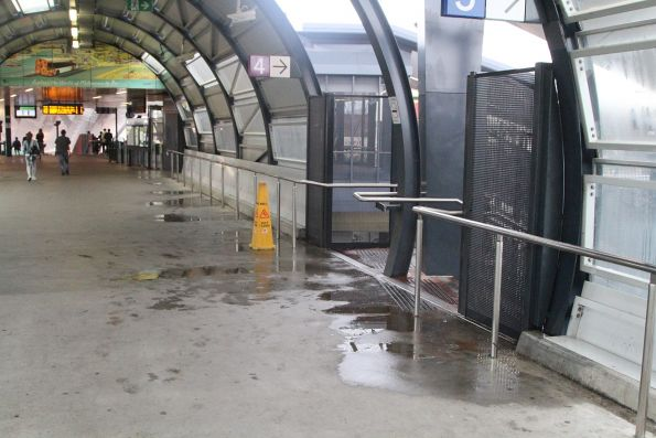 Plenty of water still leaking into the 'upgraded' footbridge at Footscray