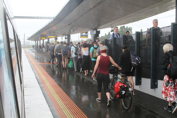 Useless platform shelters at West Footscray don't even keep passengers dry