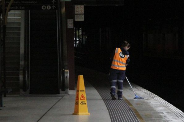 It's a rainy day and the gutters leak, or the cleaner needs to mop down the platform at Flinders Street Station