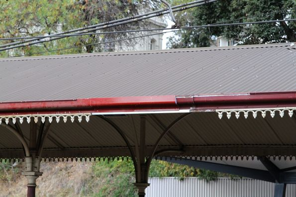Section of patched up guttering at the heritage end of North Melbourne station