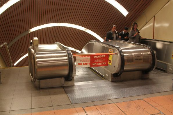 Defective western escalators down to the bottom level at Flagstaff station