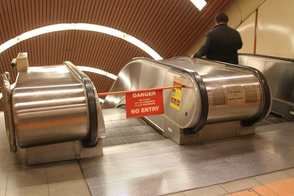 Western escalator down to the bottom level at Flagstaff station is still broken