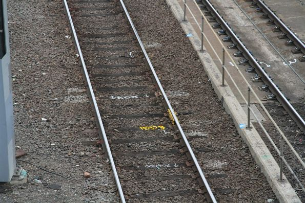 Temporary fishplate on the running lines at Southern Cross Station